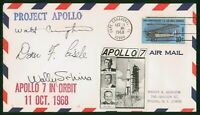 MAYFAIRSTAMPS US SPACE 1968 PROJECT APOLLO 7 IN ORBIT AUTOGR