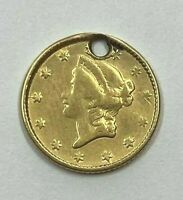 1853 $1 GOLD COIN.  LOOSE WITH HOLE. NR.