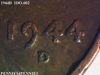 1944D 1DO-002 COPPERCOINS / DOUBLE DIE / WHEAT CENT / RAW   940