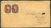 1857 5 PAIR  SCOTT 12  TIED BUFFALO ON COVER TO CALIFORNIA INCLUDES LETTER