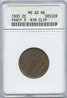 1865 2 CENT FANCEY 5  MINI ANACS MINT STATE 63 RB  ORIGINAL COIN CIVIL WAR ISSUE