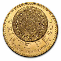 MEXICO GOLD 20 PESOS AGW .4823 ALMOST UNCIRCULATED AU  RANDOM YEAR    SKU 1044