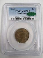 KEY DATE 1864 SMALL MOTTO TWO CENT PIECE PCGS MINT STATE 65RB CAC APPROVAL