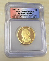2007-S ICG PR69 DCAM ADAMS DOLLAR - PART OF 3-COIN FIRST DAY ISSUE