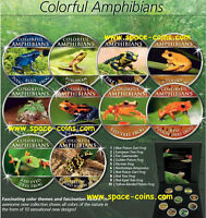 FROGS COLORFUL AMPHIBIANS COOK ISLANDS 10 PIECE SET WITH BOX & COA