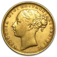 1871 1885 GREAT BRITAIN GOLD SOVEREIGN YOUNG VICTORIA AVG CIRC   SKU 49475