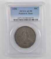 1806 DRAPED BUST HALF DOLLAR, HERALDIC EAGLE, POINTED 6, STEM- PCGS AU50 /A1230