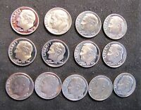 LOT OF 13 PROOF ROOSEVELT DIMES  2X 1970 1972 1974 1975 1977 1979 1981