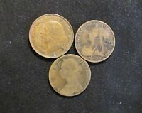 LOT OF 3 GREAT BRITAIN PENNIES PENNY COINS 1880 1901 1929