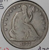 1877 S 50C LIBERTY SEATED HALF DOLLAR FINE CONDITION 143996