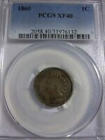 1860  INDIAN HEAD CENT PCGS XF40