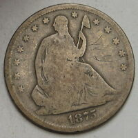 1875 S SEATED LIBERTY HALF DOLLAR UNGRADED