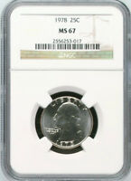 1978 P WASHINGTON CLAD 25C QUARTER MS67 NGC MS 67