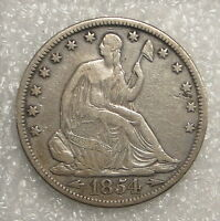 1854 WITH ARROWS SEATED LIBERTY HALF DOLLAR UNGRADED