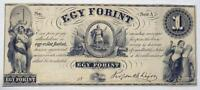 1800'S HUNGARY ONE FORINT OBSOLETE BANKNOTE NO DATE ONE SIGNATURE