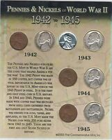 EIGHT 8 COIN LOT OF WWII COINS 1944 P/1942P/1943P/1945P JEFFERSON NICKELCENTS