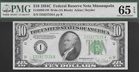 FR 2008 IW  1934 C $10 MINNEAPOLIS FED   PMG 65 EPQ   NR