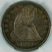 1873 SEATED LIBERTY QUARTER ARROWS AU50 PCGS