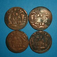 4 PCS SET COINS OF RUSSIAN EMPIRE DENGA 1736  1737  1738  1739  F