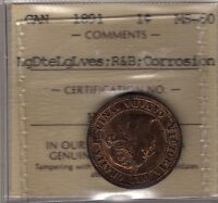 1891 CANADA LARGE CENT COIN. ICCS MS 60. KEY DATE