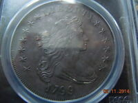 1799 DRAPED BUST DOLLAR PCGS UNC DETAILS SPECTACULAR COIN HIGH MS DETAILS