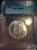 1937 50C WALKING LIBERTY HALF DOLLAR ICG MS 65 GORGEOUS COIN PERFECT DETAILS