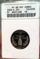 2000-S PROOF MARYLAND STATE QUARTER ANACS  PF68 HVY CAMEO