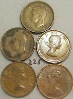 CANADA CENTS 1943,1951,1957,1958,1959,1961   55