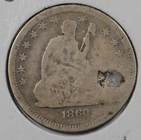 1860 25C LIBERTY SEATED QUARTER ABOUT GOOD CONDITION 142334