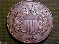 1865 TWO CENT PIECE 2C  SOLID DETAILS   COIN  SR19