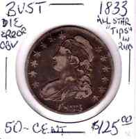 1833 U.S. BUST 50 CENTS CHECK PHOTO'S.
