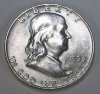 1953 D FRANKLIN SILVER HALF DOLLAR  BRILLIANT WHITE COIN WITH GREAT BELL LINES