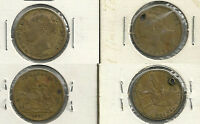 2 DIFFERENT GREAT BRITAIN QUEEN VICTORIA GAMING TOKENS   1837/1849