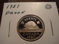 PROOF 1987    CANADA GEM UNCIRCULATED 5 CENT COIN   CANADIAN NICKEL   NICE