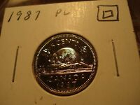 PROOF LIKE  1987 CANADA GEM UNCIRCULATED 5 CENT COIN   CANADIAN NICKEL