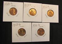 LOT 5 HIGH GRADE DENVER MINT LINCOLN WHEAT CENTS - 1948-D, 1951-D, 1952-D,1953-D