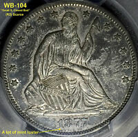 1877 S LIBERTY SEATED HALF DOLLAR   V. SMALL S WB 104 AU50 PCGS TYPE 2