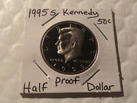 1995 S PROOF KENNEDY HALF DOLLAR NICE CAMEO COIN FROM PROOF SET
