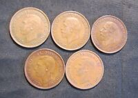 LOT OF 5 GREAT BRITAIN 1 PENNY COINS   1929 1935 1938 1940 1945
