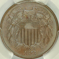 1873 OPEN 3 PROOF TWO CENT PIECE PCGS PR66BN CAC