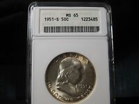 ANACS 1951 S MS 65 SILVER FRANKLIN HALF DOLLAR    12 PHOTOS    BETTER DATE