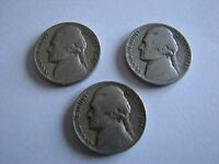 THREE JEFFERSON NICKELS 1946  1946  1947 CIRCULATED