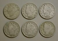 1900 1901 1902 1903 1904 AND 1905 LIBERTY NICKELS - V NICKEL  - G - 6 COINS