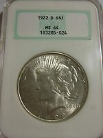 1922 D PEACE DOLLAR NGC MS64
