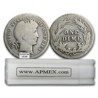 90  SILVER BARBER DIMES 50 COIN ROLL  ALMOST GOOD    SKU 5125