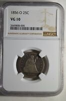 1856 O NEW ORLEANS U.S. LIBERTY SEATED SILVER QUARTER   NGC VG10   03236