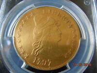 1797  DRAPED BUST 10.00 EAGLE GOLD COIN PCGS GRADED XF LARGE EAGLE 217YRS OLD