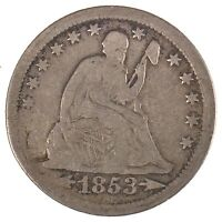 1853 O LIBERTY SEATED QUARTER DOLLAR W/ ARROWS AT DATE AND RAYS AROUND EAGLE