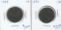 ONE   1897 CANADA LARGE CENT & ONE   1899 CANADA LARGE CENT