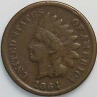 1864 L INDIAN CENT FINE FULL SHARP DETAIL GREAT COLOR SEMI KEY DATE